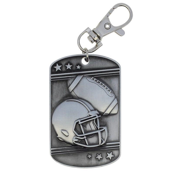 Football Dog Tag Zipper Pull Silver-D&G Trophies Inc.-D and G Trophies Inc.