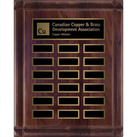 Genuine Walnut Deep Groove Plaque Hardwood Annual-D&G Trophies Inc.-D and G Trophies Inc.