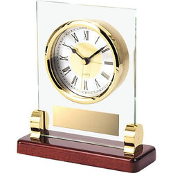 glass & brass clock giftware-D&G Trophies Inc.-D and G Trophies Inc.