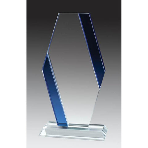 Glass Clear Pillar, Blue Accent-D&G Trophies Inc.-D and G Trophies Inc.
