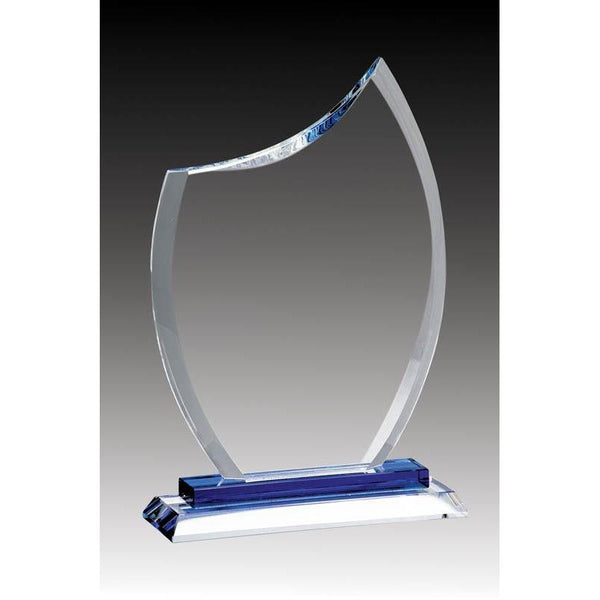 Glass Clear Rounded Peak, Blue Base-D&G Trophies Inc.-D and G Trophies Inc.