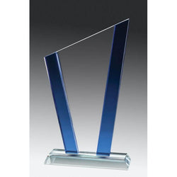 Glass Clear Slope, Blue Accent-D&G Trophies Inc.-D and G Trophies Inc.