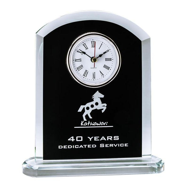 "Glass Clock w Rounded Top, Black 7.5""-D&G Trophies Inc.-D and G Trophies Inc."