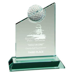 Glass Jade Peak w Golf Ball-D&G Trophies Inc.-D and G Trophies Inc.