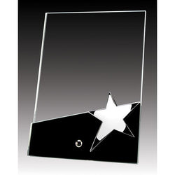 Glass Plaque on Pin w Star-D&G Trophies Inc.-D and G Trophies Inc.