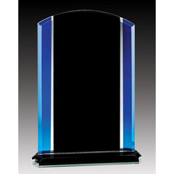 Glass Rounded Top Plaque, Black/Blue-D&G Trophies Inc.-D and G Trophies Inc.
