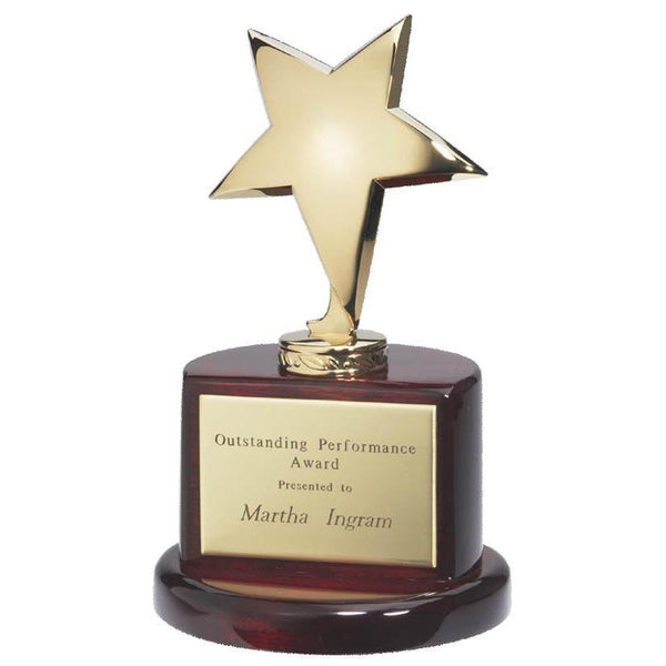 "Gold Star on Round Base, Piano Finish Rosewood 7.5""-D&G Trophies Inc.-D and G Trophies Inc."