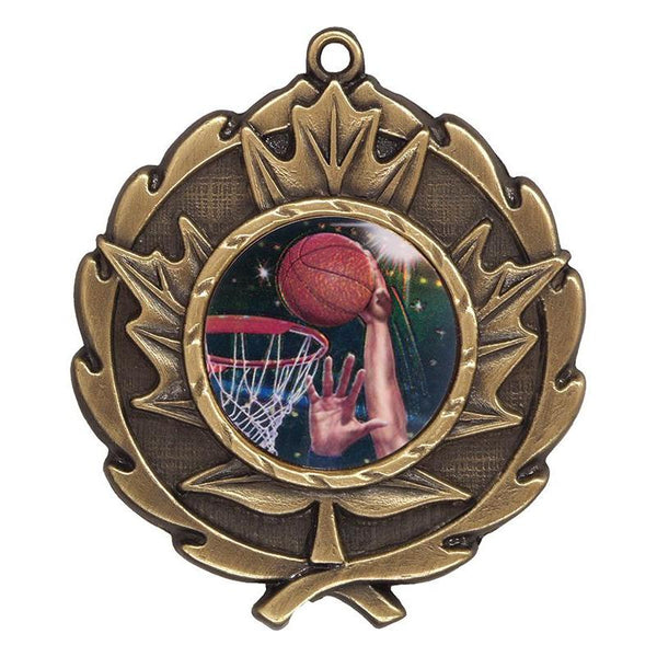 "maple leaf medal 1"" insert medal-D&G Trophies Inc.-D and G Trophies Inc."