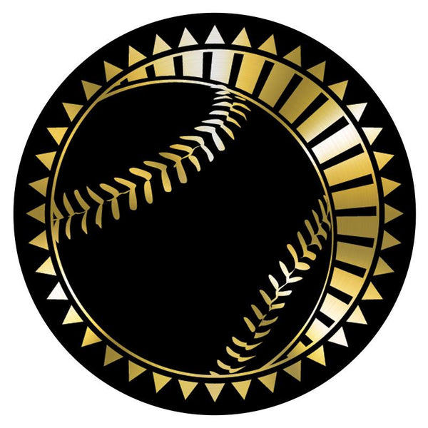 "Metallic Epoxy Dome Insert, Black/Gold Baseball 2""-D&G Trophies Inc.-D and G Trophies Inc."