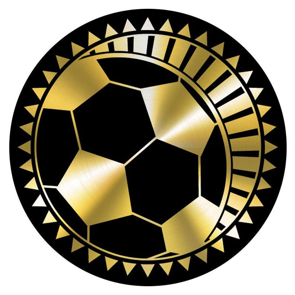 "Metallic Epoxy Dome Insert, Black/Gold Soccer 2""-D&G Trophies Inc.-D and G Trophies Inc."