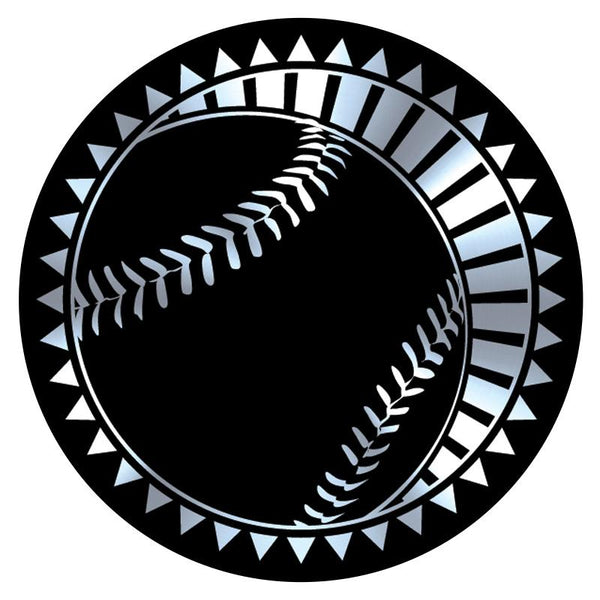 "Metallic Epoxy Dome Insert, Black/Silver Baseball 2""-D&G Trophies Inc.-D and G Trophies Inc."
