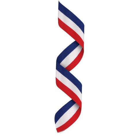 Neck Ribbon w Clip Red/White/Blue-D&G Trophies Inc.-D and G Trophies Inc.