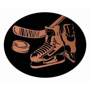Oval Dome Insert, Black/Bronze Hockey-D&G Trophies Inc.-D and G Trophies Inc.