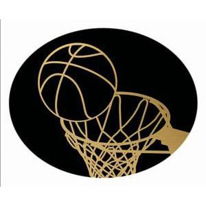 Oval Dome Insert, Black/Gold Basketball-D&G Trophies Inc.-D and G Trophies Inc.