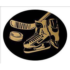 Oval Dome Insert, Black/Gold Hockey-D&G Trophies Inc.-D and G Trophies Inc.