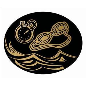 Oval Dome Insert, Black/Gold Swimming-D&G Trophies Inc.-D and G Trophies Inc.