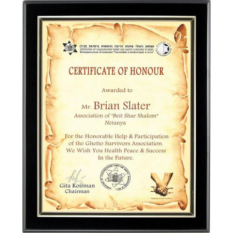 Piano Finish Certificate Holder-D&G Trophies Inc.-D and G Trophies Inc.