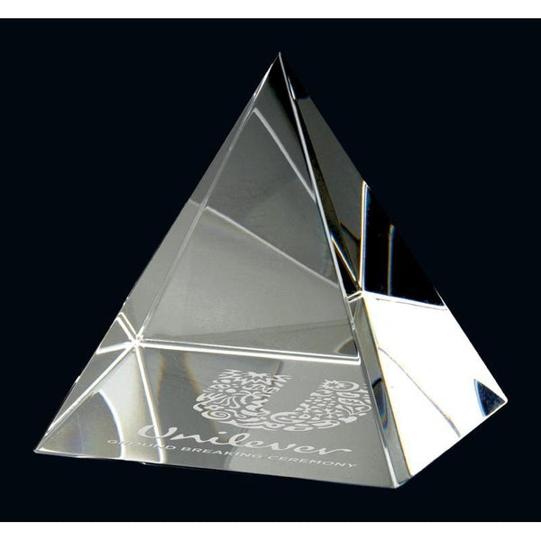 pyramid paperweight optic crystal giftware-D&G Trophies Inc.-D and G Trophies Inc.