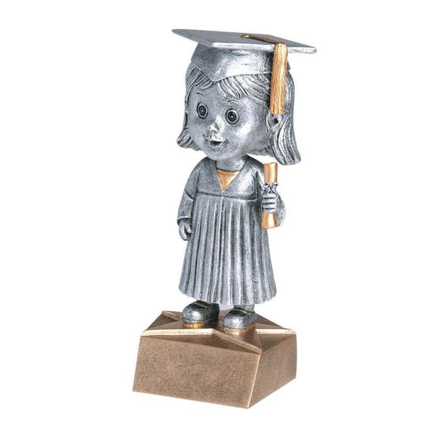 "Resin - Bobblehead Female Grad 5.75""-D&G Trophies Inc.-D and G Trophies Inc."