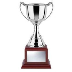 Revolution Nickel Plated Cup on Rosewood Square Base-D&G Trophies Inc.-D and G Trophies Inc.