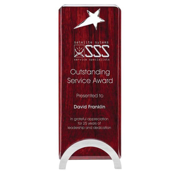 "Rosewood Narrow Plaque on Silver Arc Base w Silver Star, 9""-D&G Trophies Inc.-D and G Trophies Inc."