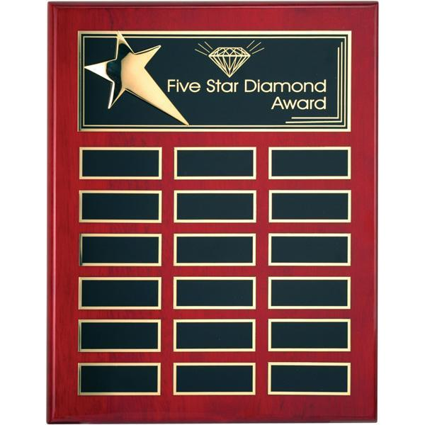 Rosewood Piano Finish Metal Star Plaque Hardwood Annual-D&G Trophies Inc.-D and G Trophies Inc.