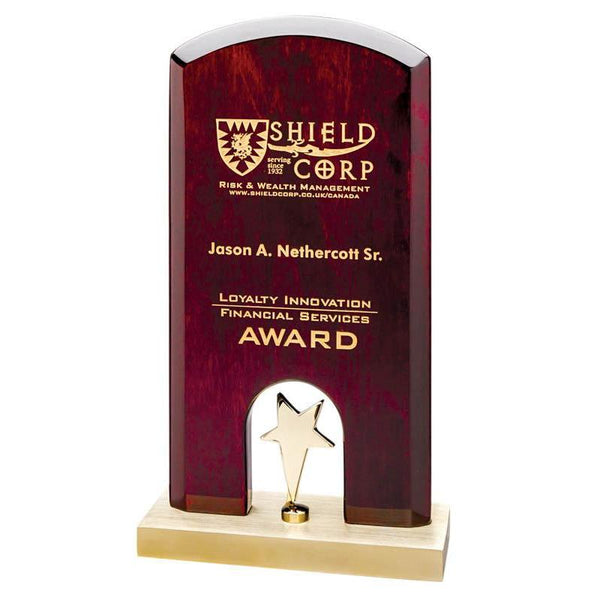 "Rounded Top Rosewood Plaque on Gold Base w Gold Star, 8.5""-D&G Trophies Inc.-D and G Trophies Inc."