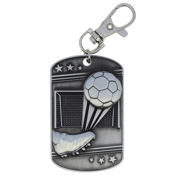 Soccer Dog Tag Zipper Pull Silver-D&G Trophies Inc.-D and G Trophies Inc.