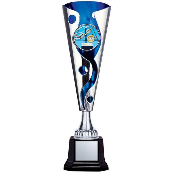 "XL Cyclone Cup 2"" Insert Holder on Black Square Base, Silver/Blue 13""-D&G Trophies Inc.-D and G Trophies Inc."
