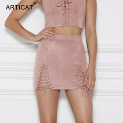 5116a8a8952397 ... ARTICAT Sexy Lace Up Leather Suede Skirts Women Vintage Cross Zipper  Split Mini Skirt Sexy High