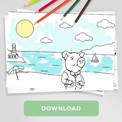 Trotters Day at the Beach Colouring Sheet