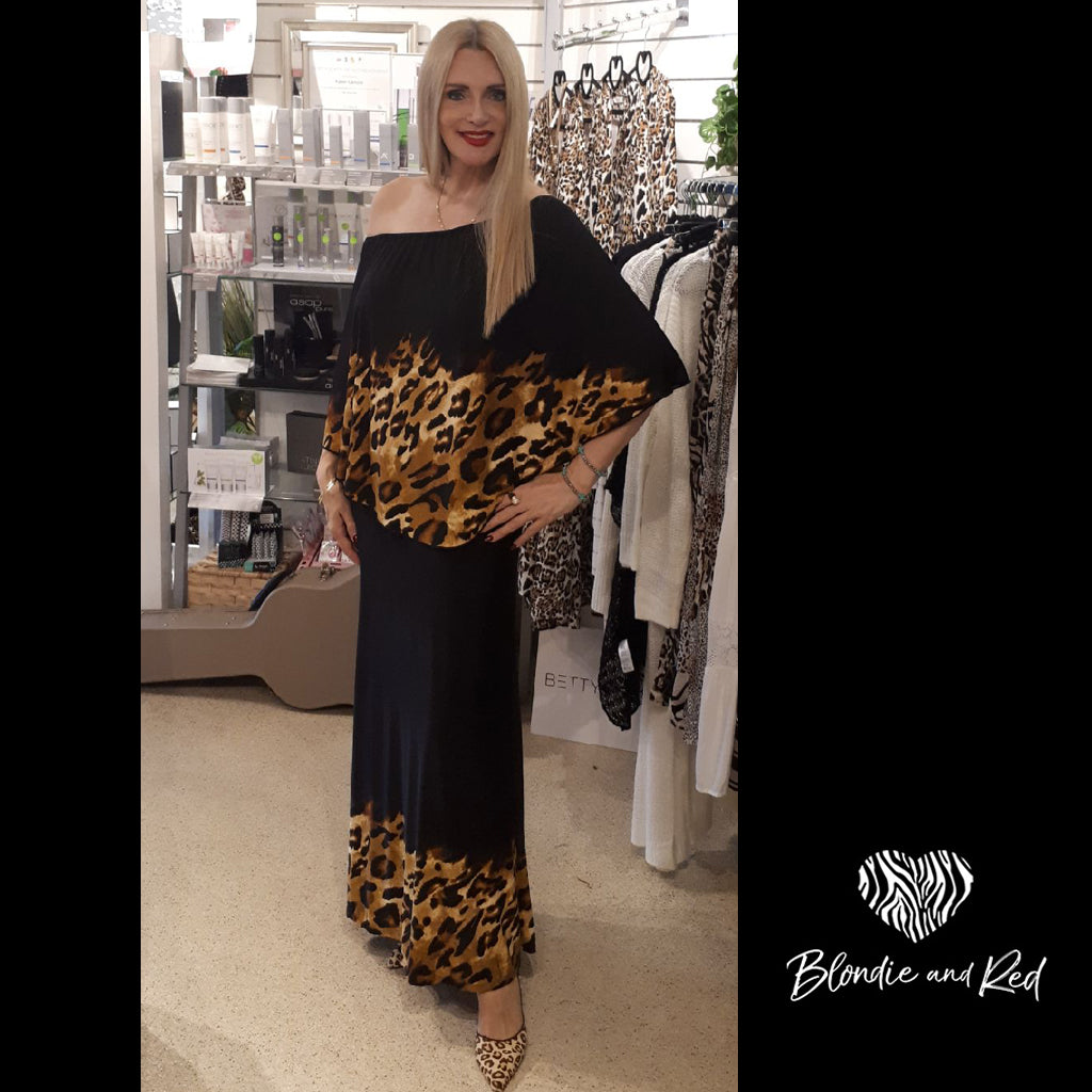 Miracle Dress - Long - Leopard & Black Pattern