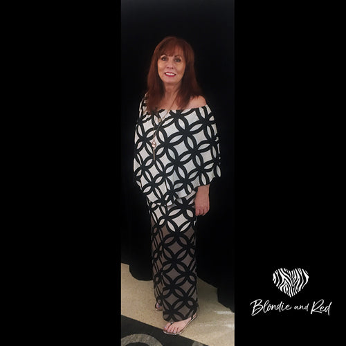 Miracle Dress - Long - Black & White Pattern
