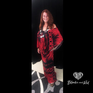 Miracle Long Dress - Red & Black Pattern