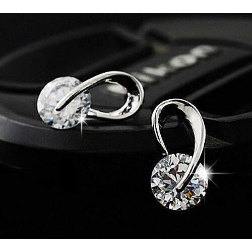 Crystal Silver Zircon Stud Earrings-99Accessory-99Accessory