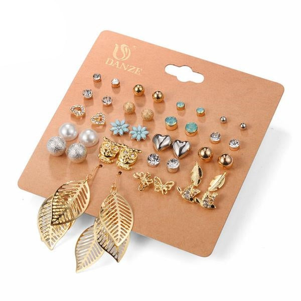 20 Pairs Set Mixed Stud Earrings For Women-99Accessory-99Accessory