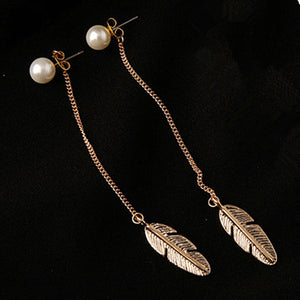Pearls Long Tassel Earrings, Feather Design-99Accessory-99Accessory