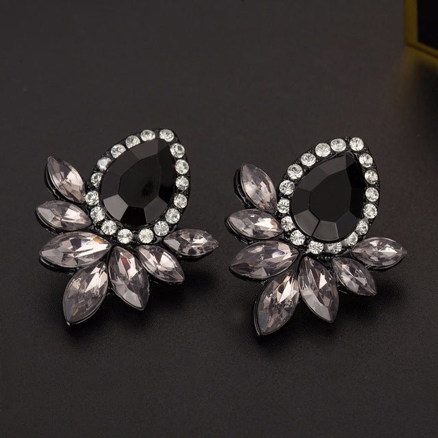 Rhinestone Black Resin Earrings-99Accessory-99Accessory