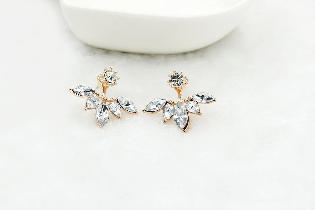 Zircon Crystal Leaf Stud Earrings - 99Accessory