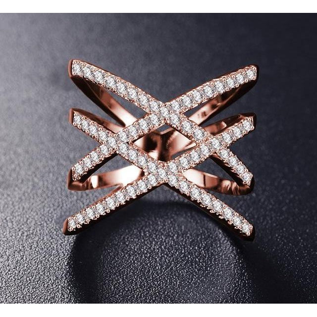 Women's Double Letter X Shape Ring, Micro Paved-99Accessory-99Accessory