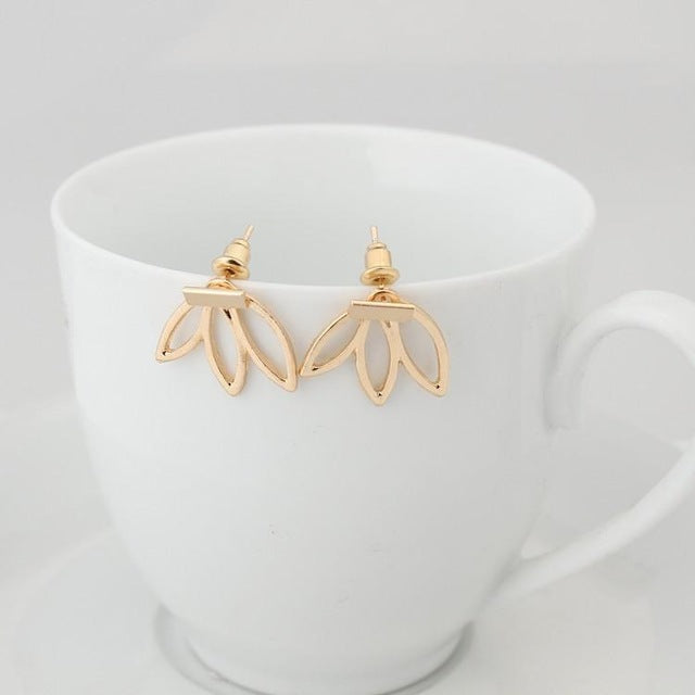 Simple Lotus Charm Stud Earrings-99Accessory-99Accessory