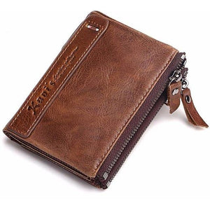 100% Genuine Leather Men's zipper Wallet-99Accessory-99Accessory
