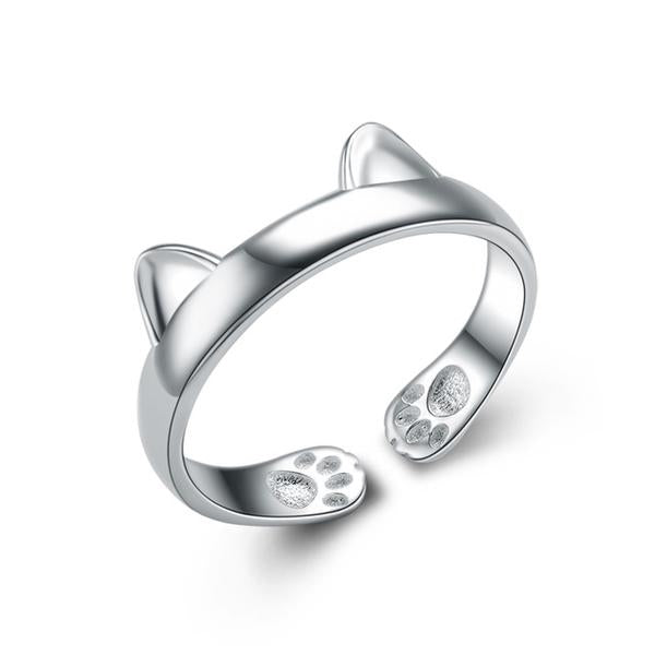 925 Silver Cat Ear Cute Ring-99Accessory-99Accessory