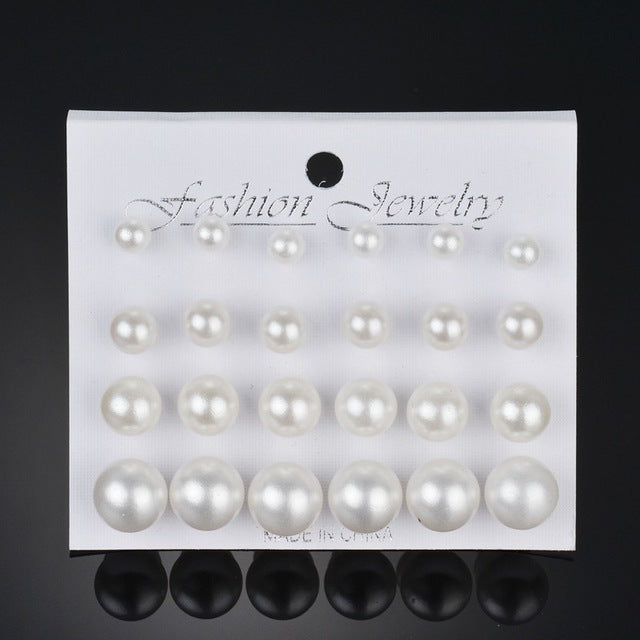 12 pairs/set Pearl Earrings For Women-99Accessory-99Accessory
