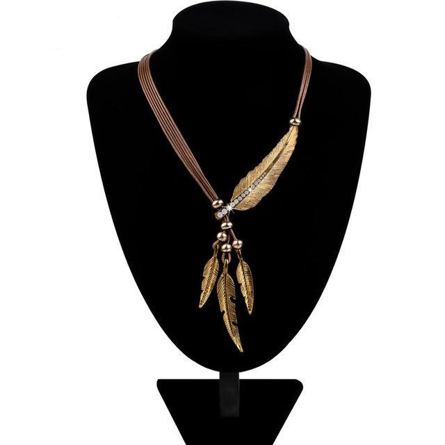 Women's Alloy Feather Pendant Necklace-99Accessory-99Accessory