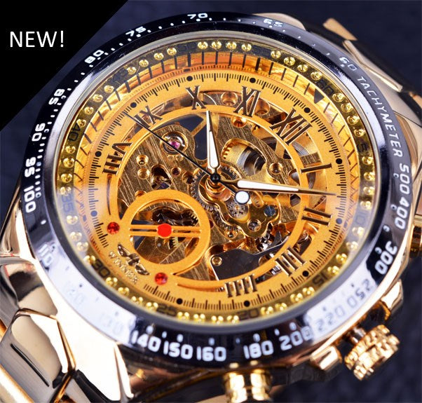 Men's Bezel Skeleton Watch