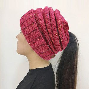 Women's Ponytail hat, knitted Beanie - 99Accessory