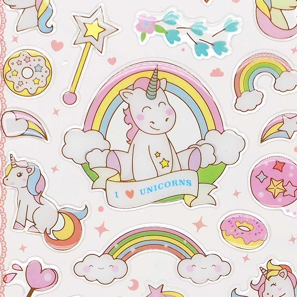 Unicorn Crystal Stickers - Coral