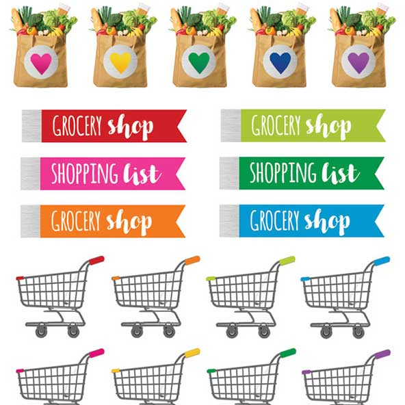Grocery Planner Functional Stickers Detail