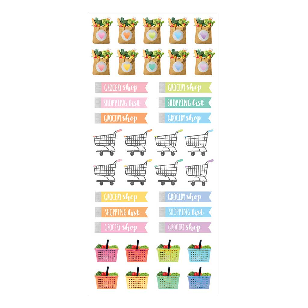 Grocery Planner Functional Stickers Pastel Color